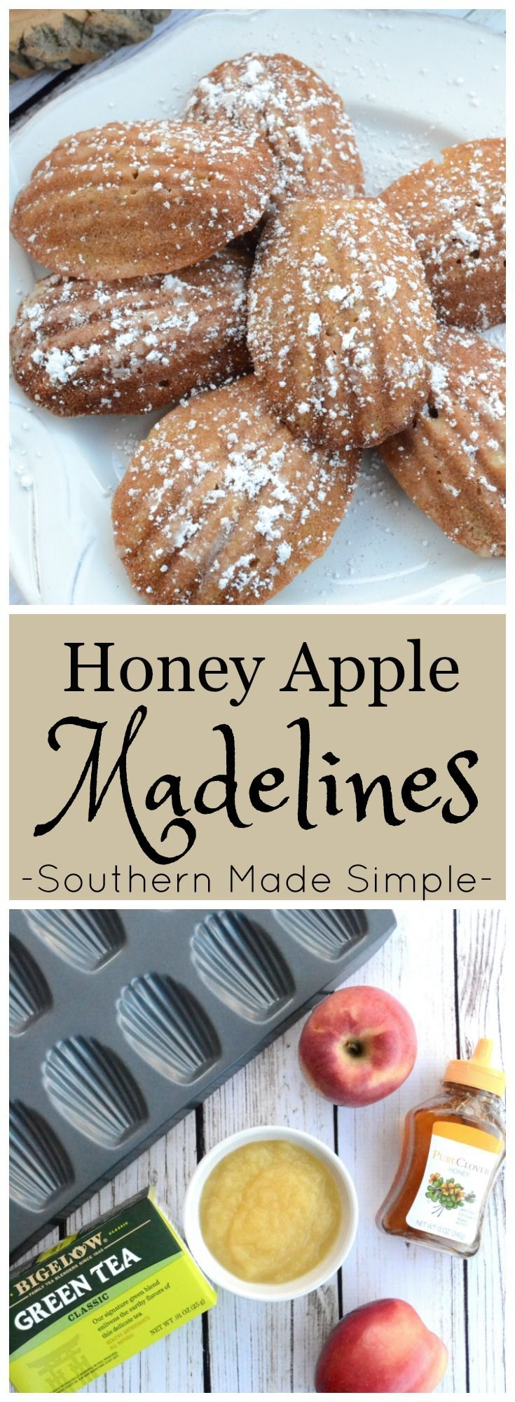 Tea is ALWAYS a good choice, and it's an even better choice when it's served with a side of these sweet Honey Apple Madelines sprinkled with a smidge of powdered sugar! #TeaProudly #ad