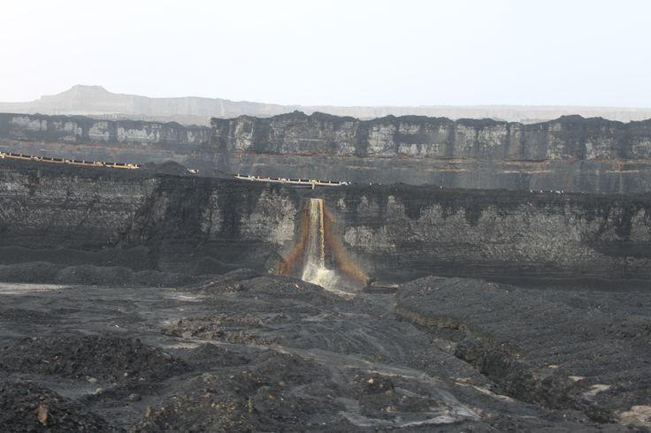 Coal mine - coal wall - Bílina, Czech republic