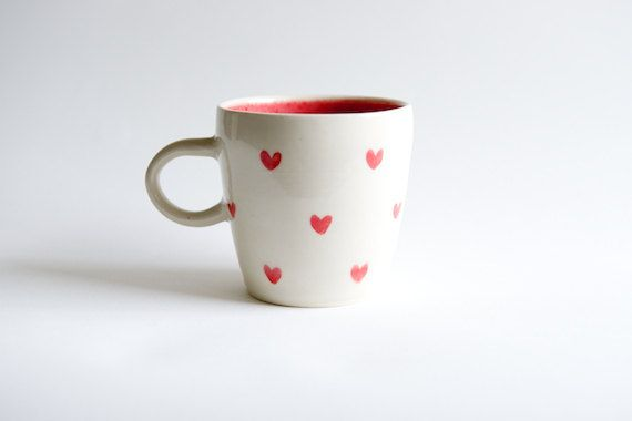 Red Heart Mug handmade ceramics by RossLab by RossLab on Etsy, $26.00