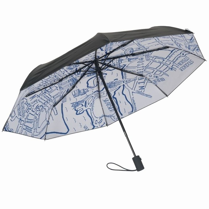 Happysweeds Umbrella Stockholm. This is an exclusive design in collaboration with top design hotel Hobo. Perfect umbrella or rain or sun.  HAPPYSWEEDS umbrellas are designed in Stockholm and we love this city and this special design expresses a great feeling about Stockholm all seasons no matter the weather.  You can visit Stockholm everyday with this brollie and get the gist of it's layout. The perfect gift for those that love Stockholm as well as being practical too.   Sun protection: UPF…