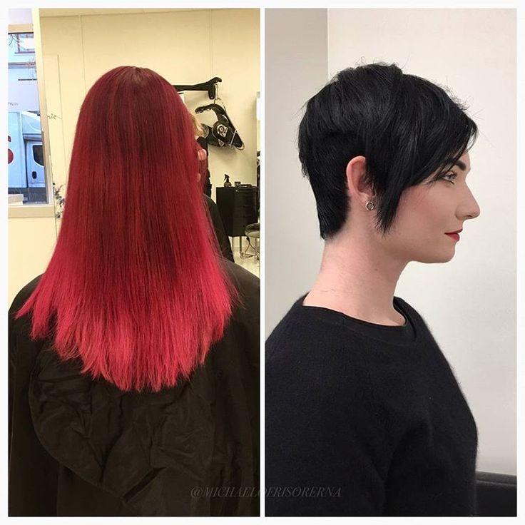 Wow, vilken modig tjej!  Vi klipper av håret i en trendig kort frisyr och färgar in håret i en glansig svart färg, riktigt häftigt! #shorthair #blackhair #makeover
