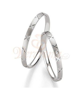 Βέρες γάμου λευκόχρυσες με διαμάντι breuning 4317-4318