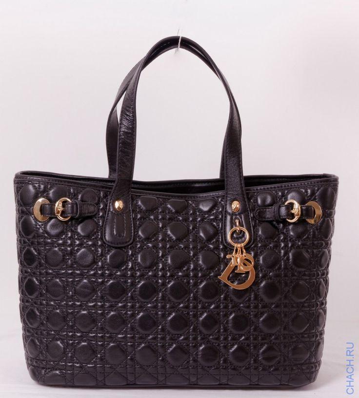 Сумка Christian Dior черная кожаная с золотистыми пряжками