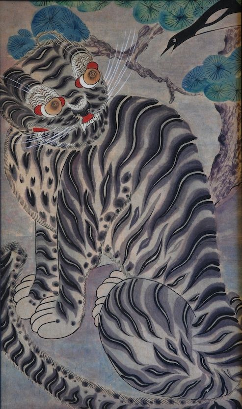 Korean Folk Art tiger painted 200 years ago by an unknown painter