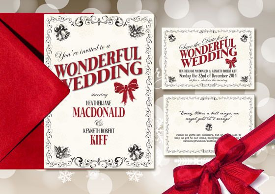 Christmas Wedding Invitations: ´A Wonderful Life´ Wedding Invitation #winterweddings #christmasweddings