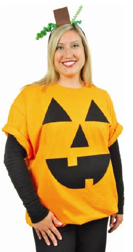 A.C. Moore No Sew Pumpkin Costume #halloween #diy #costume -- I could totall make my own Pumpkin costume!! I could be the mama pumpkin with lexi as the baby!!
