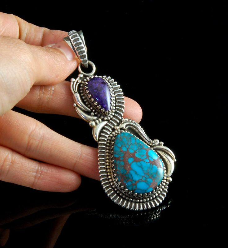 Large Sugilite and Egyptian Turquoise Pendant by John Hartman