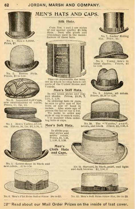 52ffe4856a5c6 Victorian 1897 men's hats- tops hats, bowler, trilby, golf cap, yacht cap,  homburg, gambler, and straw boaters