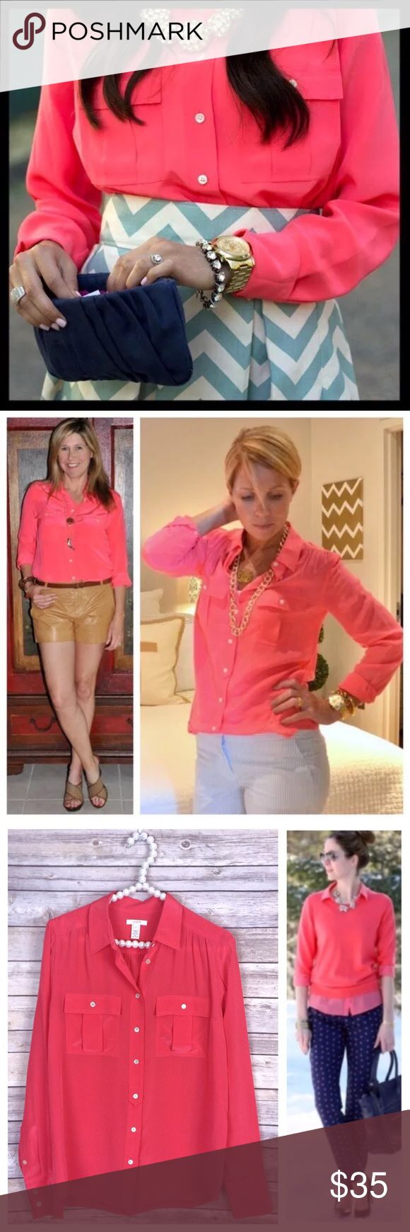 j. crew // coral pink 100% silk blythe blouse Everyone loves Blythe—a classic army shirt reimagined in drapey and feminine silk crepe de chine. Dressed up or down, this flattering-on-everyone top is the ultimate in effortless chic. We're sporting ours tucked into sleek pencil skirts for extra polish or languid and loose for that cool-girl look we love. Long sleeves. Color is a bright, beautiful coral pink, but not neon. Excellent preowned condition. J. Crew Tops Blouses