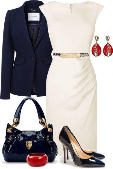 Look del giorno dedicato alle fashion victim che amano vestire con capi eleganti e molto femminili. Gli abiti a tubino sono un must have per ogni fashion victim, perciò ecco come rendere meno impegnativo un modello bianco abbinando giacca blu, scarpe e borsa in coordinato, e bijoux rossi. Vi piace questo look?