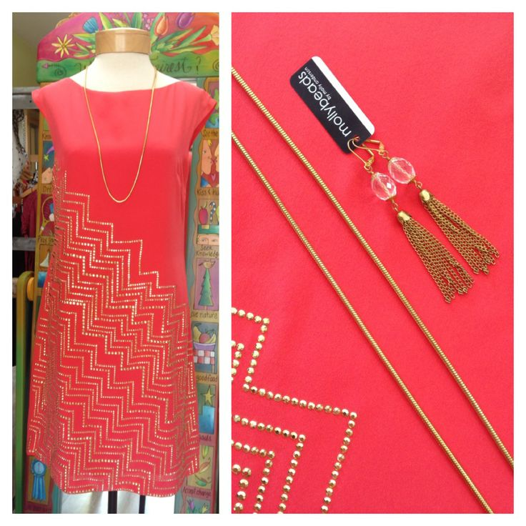 Trina Turk silk sheath dress with gold embelleshment Molly Beads tassel earrings Avalillys Boutique 704-987-0037