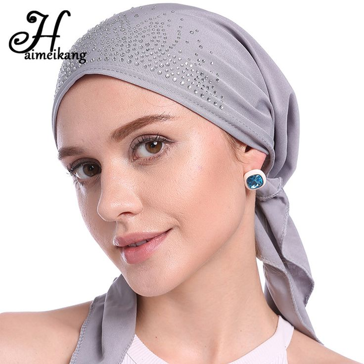 Haimeikang Autumn Winter Fashion Rhinestone Indian Headband Hat Hair bands Muslim Turban Cap for Women Kerchief Headwear #Affiliate