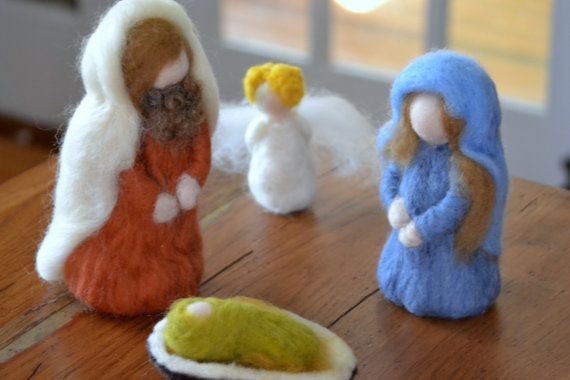 Needle felted Nativity set made to order