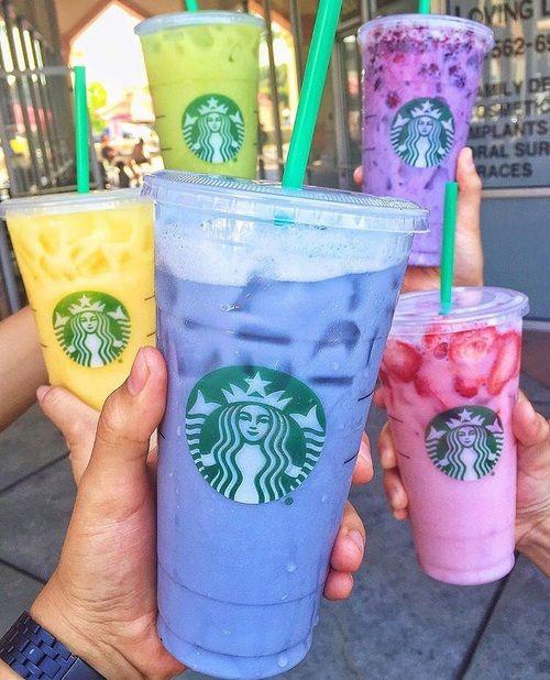 Imagen de starbucks, drink, and pink