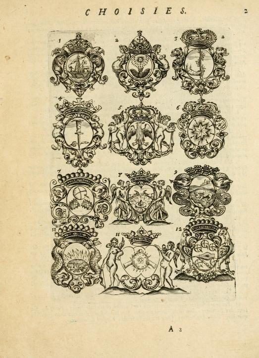 Devises et emblemes anciennes et modernes, tirées des plus celebres auteurs  avec plusieurs autres nouvellem[en]t inventées et mises en latin, en francois, en espagnol, en italien, en anglois, en flamand et en allemand (1712).