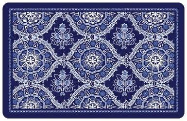 Deep Blue Floral Kitchen Floor Mat