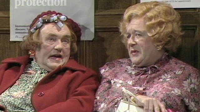 Cissy and Ada.  Les Dawson and Roy Barraclough