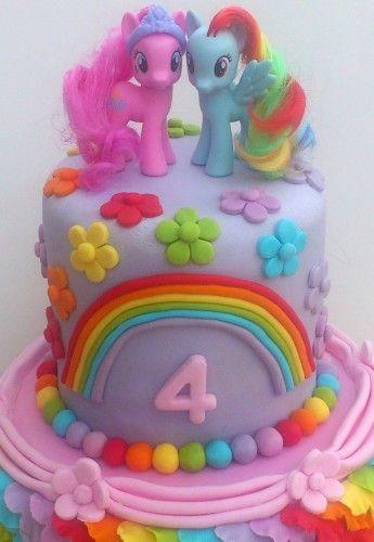 my little pony 2 tier rainbow theme