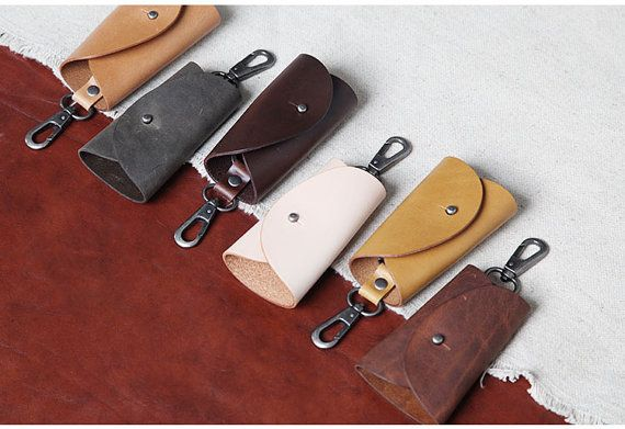 Leather Key Holder Simple Designed Key Bag Handmade By Italian cowhide Genuine Leather Keychians For Gift
