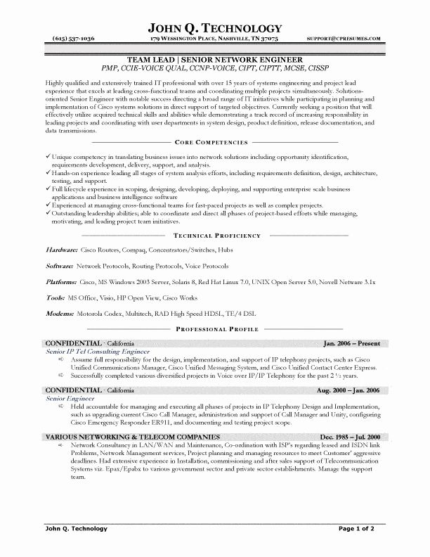 Network Engineer Resume Example Elegant Senior Network Engineer Resume Network Engineer Resume Examples Sample Resume
