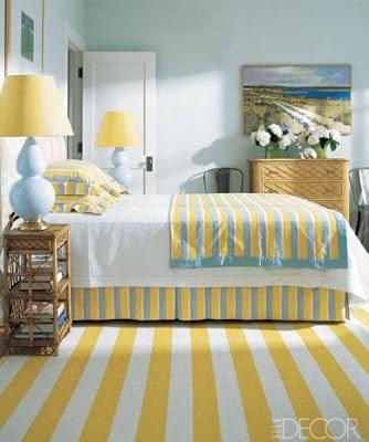 Sarı -mavi uyumu-yazlık ev dekorasyonu