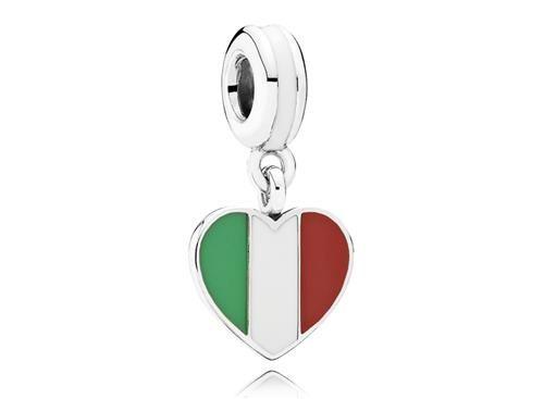Charm de Prata Pendente Coração Italiano - Bem-vindo - Pandora Joias