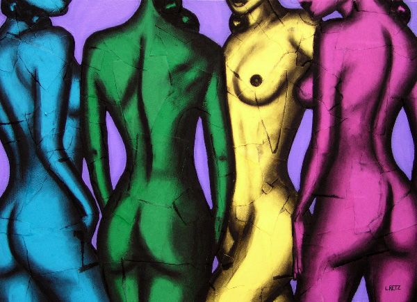 Four Coloured Girls by Laural Retz Studio Torn Paper, charcoal and acrylic on board