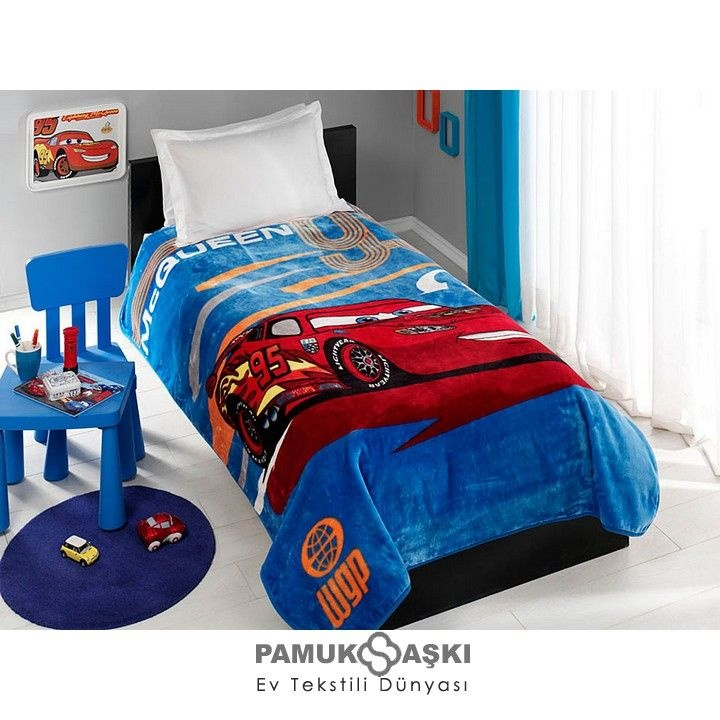 Disney Cars Mc Queen bedroom for my son. Like the gray walls.