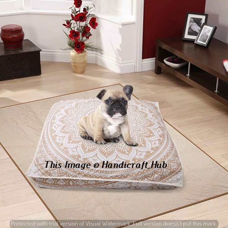 Indian Dog Bed Cushion Cover Dog Bedding Ombre Mandala Tapestry Floor Pillow #Handmade #Traditional