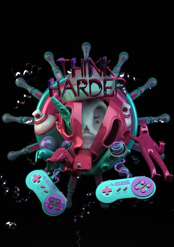 THINK HARDER on Behance by Bautista Mantovani #C4D,#Cinema 4D,#3D,#design,#Illustration