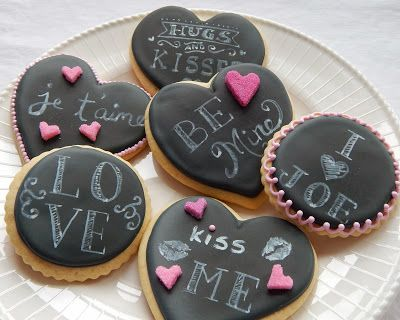 Valentine Chalkboard Cookies  Easily customizable for Wedding Favors too! Valentine's Day Treats #cookies #valentines