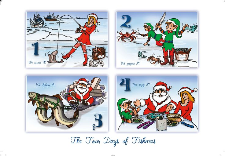 Christmas card illustrations for Direct Seafoods of Colchester