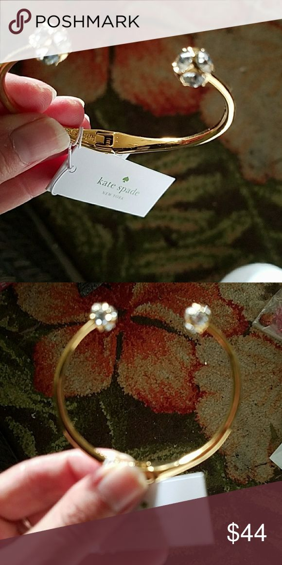 Nwt Kate spade cuff bracelet Nwt Kate spade gold cuff bracelet with crystals on both ends. This cuff will  add sparkle to any outfit!!! Kate Spade New York Jewelry Bracelets