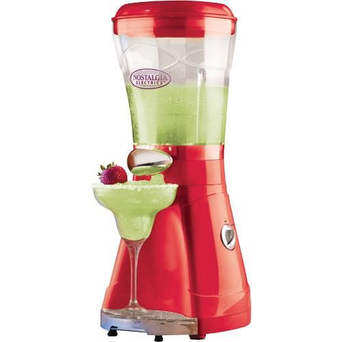Nostalgia - 64 Ounce Margarita & Slush Maker - The Nostalgia MSB64 64-Ounce Margarita & Slush Maker is a frozen drink machine that will add thirst-quenching fun to any occasion! It uses crushed ice or small ice cubes from the freezer and not only makes fantastic margaritas, but can also mix up batches of your favorite frozen drinks such as daiquiris or slushes for the kids! With a generous, 64-ounce clear mixing chamber, the maker features an attractive, slim, upright design. #home #bar…