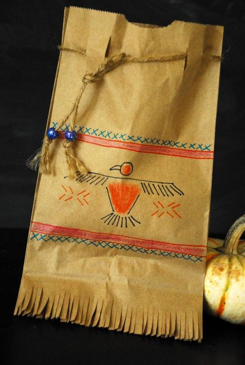 Thanksgiving craft: Native American satchels