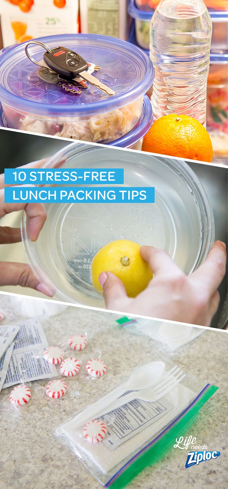 """Follow these easy tips to make packing (and remembering) your lunch a breeze. Helpful ideas for creating an organized lunch-packing station, keeping Ziploc® containers stain free, and making lunchtime """"tool kits"""" so you never forget a fork or spoon again."""