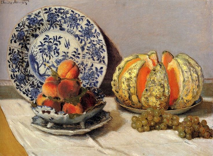 "Claude Monet - Mia Feigelson Gallery ""Still Life with melon"" (1872) By Claude Monet, from Paris (1840 – 1926) - oil on canvas; 53 x 73 cm - © Museu Calouste Gulbenkian, Lisbon, Portugal http://museu.gulbenkian.pt/Museu/pt/Inicio"