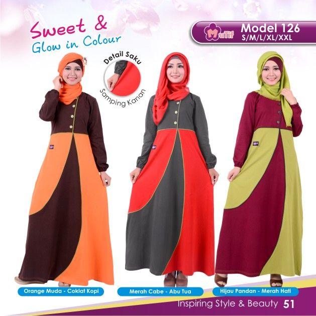 """Gamis Mutif 126 cocok untuk wanita yang ingin tampil""""Simple & Beauty"""",praktis dan nyaman digunakan dengan bahanKatun Combedyang nyaman dan tidak panas"""