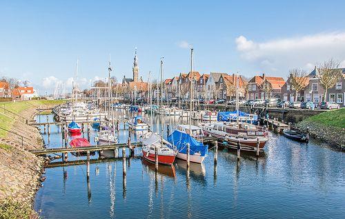 Colorful Dutch Marina in winter - Jachthaven van Veere