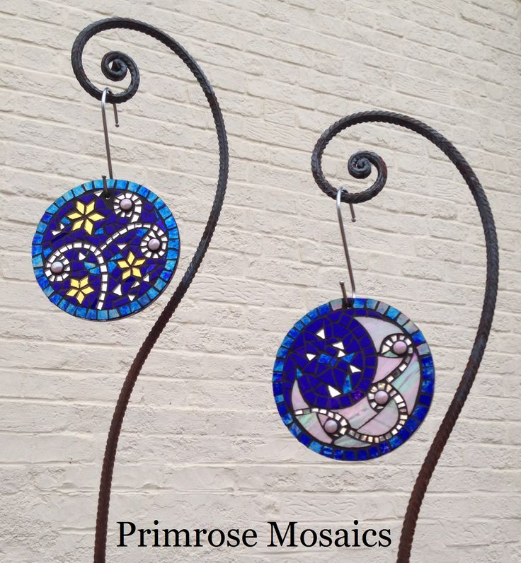 Art for the garden. Moon and stars glass mosaic. www.primrosemosaics.com