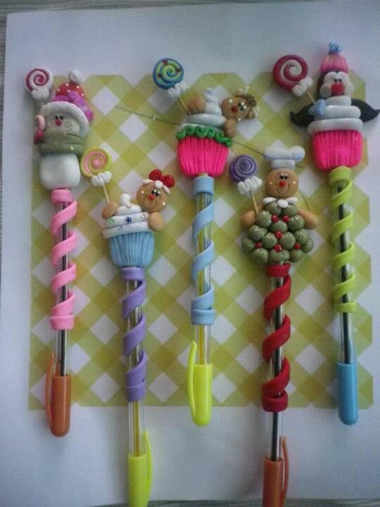 #Christmas #polymer #clay pens