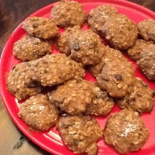 Wheat-free oatmeal cookies  1 1/4 cup brown rice flour 1 3/4 cups oats 3/4 cups raisins (or mixed dried fruit) 3/4 cup brown sugar cinnamon to taste (I used 2 tsp) 1/4 teaspoon salt 1/2 teaspoon baking soda 3 eggs 1/2 cup butter, melted 1/2 cup water Salt for garnish (optional)   In one bowl mix  together the brown rice flour, oats, sugar, cinnamon, salt, and baking soda. Add the raisins or other fruit. In a mixing bowl blend in the eggs, butter, and liquid. Beat until smooth. Add the dry…