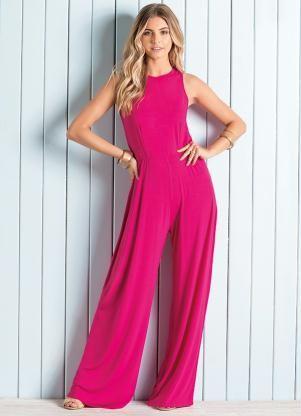 Macacão Pantalona Pink sem Mangas - Quintess
