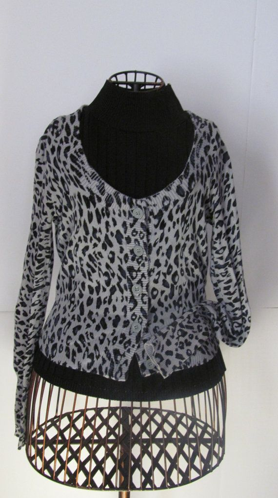 Black and Grey Leapard Print Shirt    Cheetah Print Womens sz S    Pants shown in pick can be found at link below...
