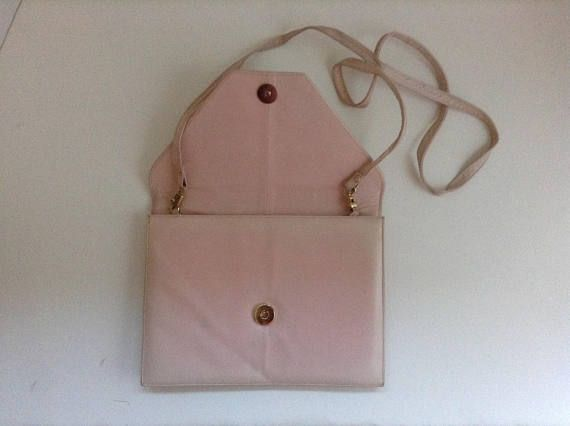 Soft Blush Pink Leather Handbag Vintage 1970s Front Flap/Snap