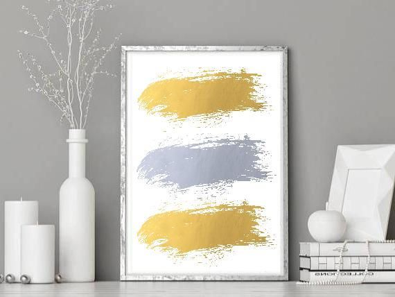 Digital Gold & Silver Foil Brush Art Print - Instant Download Silver Gold Abstract Wall Art - Printable Abstract Gold Foil Silver Brush Art