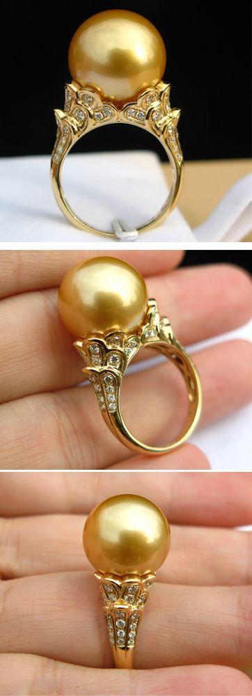 South sea golden pearl diamond ring