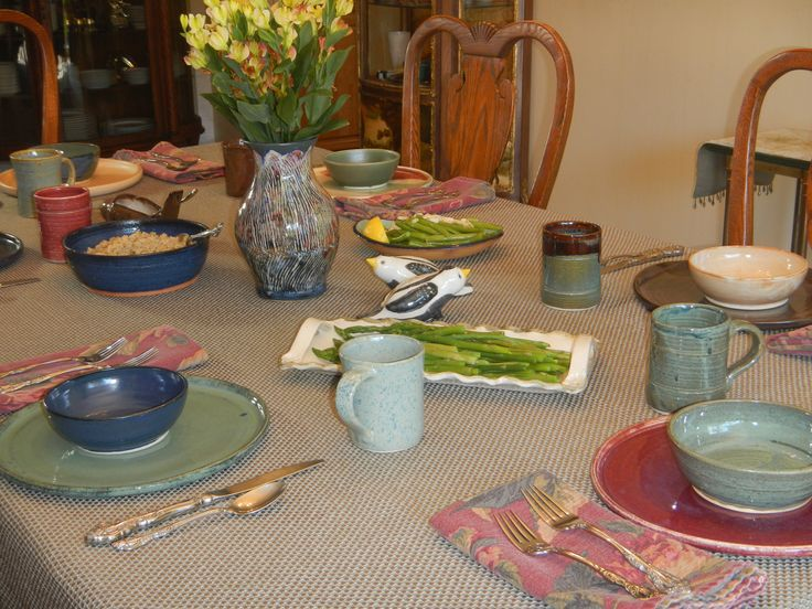 Dinnerware, vase, drinking vessels, serving pieces all made at Mimi Stadler Pottery. #potsinuse