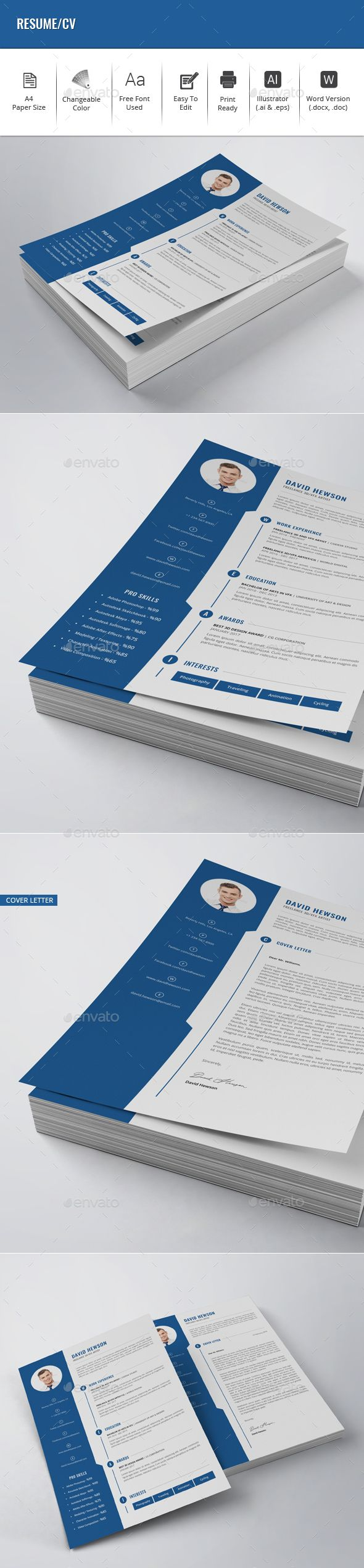 Engineer Cv Templates Microsoft Word%0A Resume   CV Template Vector EPS  AI Illustrator  MS Word