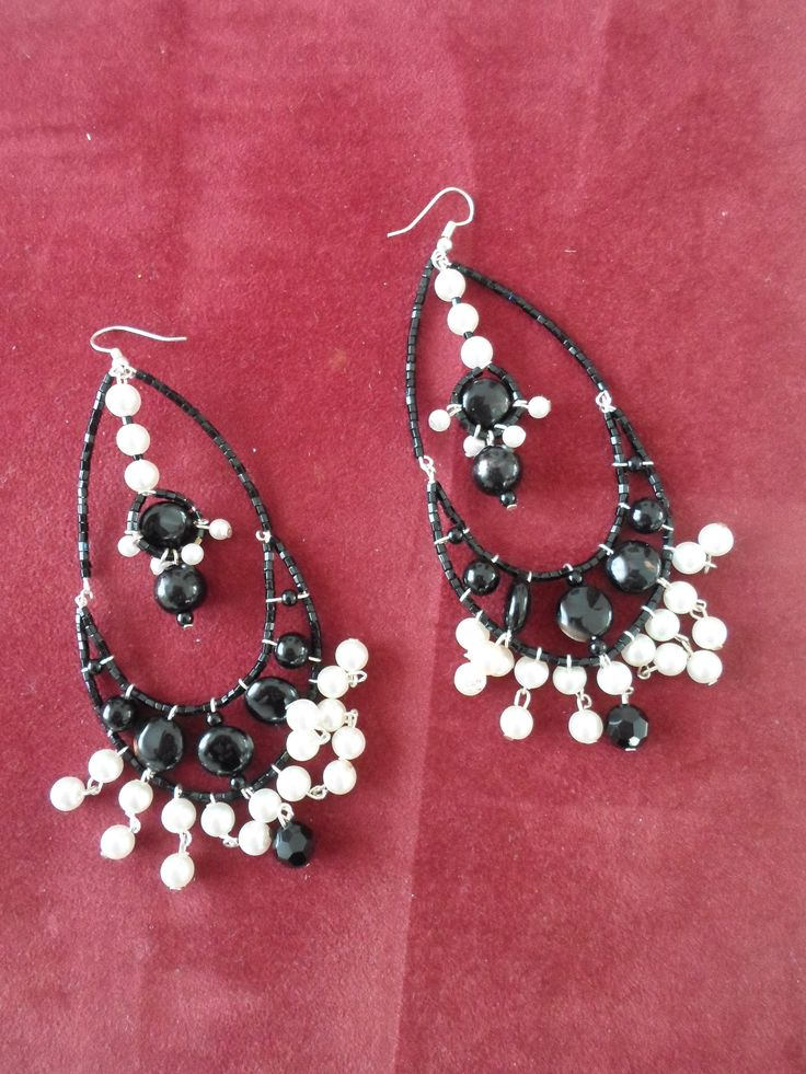 Handmade Ebony and Crystal bead Earrings